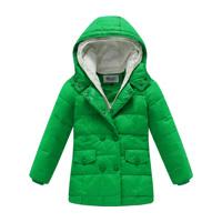 Free shipping retail Child down coat medium-long female child down coat winter thickening