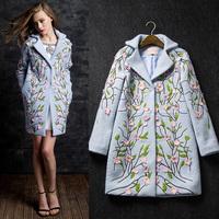 Fashion women's 2014 elegant embroidered a wool overcoat woolen outerwear medium-long