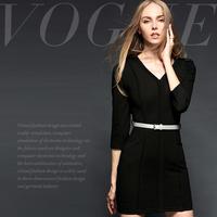 Fashion brief leather belt V-neck stripe slim one-piece dress