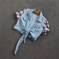 Free shipping 2014 summer brief all-match patchwork tieclasps water wash denim waistcoat small cape 100% cotton coat