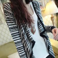 New women's spring autumn high fashion stripe irregular sweater, contrast color long sleeve allmatch outwear, irregular cape S~L