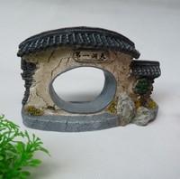 Rockery fish tank aquarium decoration door L15cm*W4cm*H10cm ruin resin ornament free shipping