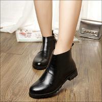 Free shipping 2014 winter autumn fashion short women boots female metal decoration round toe leather+PU boots women size 34-43