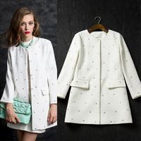 New arrival 2014 women's fashion  fashion ladies rhinestones medium-long trench outerwear white coat