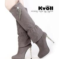 Free Shipping! Female rhinestone velvet thin heels high-heeled boots high-leg autumn and winter