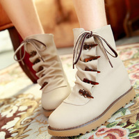 Boots sweet preppy style ivory buckle martin boots elevator in with the boots thermal boots women's shoes