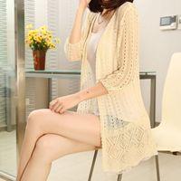 Qy1001 liangsi ultra-thin chiffon vintage lace medium-long cutout cardigan sweater outerwear