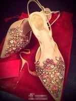 Free Shipping! Summer gorgeous lace rhinestone gem high-heeled sandals