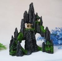 Fish tank aquarium rockery decoration ornament mountain view stone L15cm*H20cm with holes free shipping