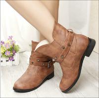 2014 new women ankle boots heels black rivet women autumn boots fashion Martin boots big size 43 women genuine leather+PU pumps