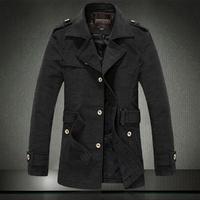 Free shipping Men's trench coat 2014 new men jacket The fashion leisure woolen cloth coat men
