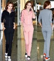 New 2014 autumn women's sport suit casual plaid collar sweatshirt clothing set plus size M_XXL