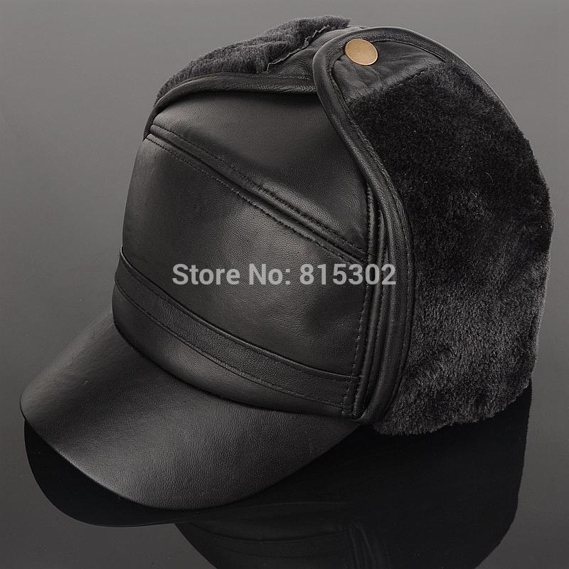 Winter men elder men genuine leather fur ear protect hat cap winter warm quinquagenarian hat sheepskin sheep fur Bomber Hats(China (Mainland))