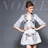 Fashion high quality vintage ink print high waist one-piece dress a