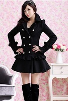 Professional women's 2014 autumn and winter double breasted ruffle skirt large lapel slim wool coat wool