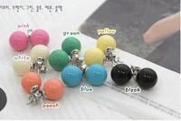 10pair / lot Random colors ! Charm 5Colors candy earrings ball earrings ! CRYSTAL SHOP/Free shipping
