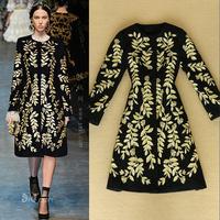 Stunning!2014 Runway Fashion Women's Golden Embroidered  Long-sleeve Woolen Coat Vintage Overcoat  Plus Size F16424