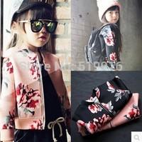 Flower female child jacket child zipper outerwear 14 peach cream