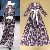 European Catwalk High Street Fashion Women's Vintage Long Sleeves Tied Waist To The Floor Length Holiday Dress Boho Dress