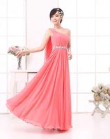 4 colors bridesmaid dress one shoulder chiffon bridal formal dress crystal decoration bridesmaid dress HL1409282
