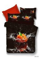 Personalized 3d ink oil painting 100% piece cotton bedding set 3d 100% cotton stereo orange