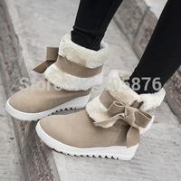 ENMAYER Fashion Women Warm Winter Shoes bow Ankle Boots Platform Round Toe Snow Boots 3 colors platform boots