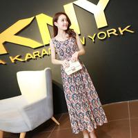 S-XL Summer 2015  Cotton Dress Floor-Length Tank O-Neck Sleeveless Pleated Bohemian Women's New Arrival Fashion  NL919