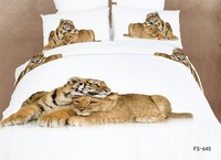 Personalized 3d ink oil painting 100% piece cotton bedding set 3d 100% cotton tiger stereo