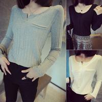 Thickening autumn 2014 new preppy style black all-match classic pocket small V-neck basic women t shirt women's clothing