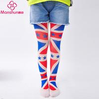 Summer print silk child stockings velvet pantyhose thin female child jacquard stockings
