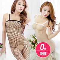 Sexy women's milk transparent lace open file open-crotch stockings set temptation