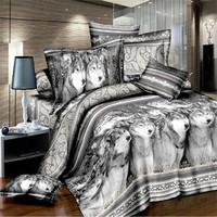 Dark black color flower personalized bedding 3d bedrug 4 100% cotton duvet cover three-dimensional bedding