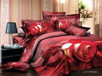 3d 100% activated three-dimensional cotton print four piece set princess bedding 100% cotton bedding rose