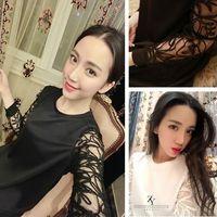 2014 new autumn elegant lace long-sleeve top women t shirt basic patchwork o-neck casual women's clothing