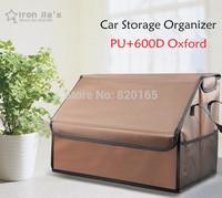 High Quality PU 600D Oxford Waterproof Fabric Car Storage Organizer Portable Auto Folding Multi-use Tool Box Organizer