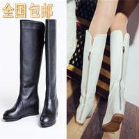 2014 autumn and winter boots elevator zipper tall boots high boots white boots genuine leather boots