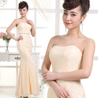 2014 Formal Dresses Fashion Lace Sequined Fishtail Skirt  Bridesmaid Dress Slim Long Champagne Dress
