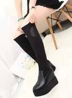 2014 ultra elastic cloth boots high-leg boots platform medium-leg boots platform boots high-heeled boots