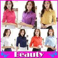 2014 Autumn&Winte chiffon blouse  long-sleeve camisas femininas Professional ladies long-sleeved collar shirt
