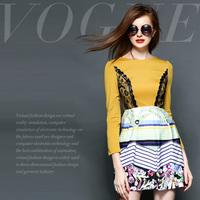 Fashion high quality stripe print lace patchwork slim waist one-piece dress