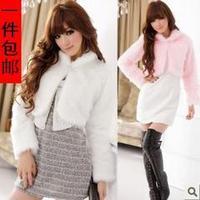 Free shipping Fashion  women's fur coat  all-match ladies elegant paragraph ultra-short long-sleeve wool fur coat