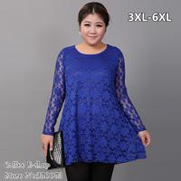 Plus size women clothing cautumn one-piece dress 100kg lace long-sleeve super large xl 4xl 6xl