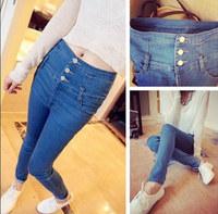 2014 New Fashion Retro Decorative Buttons Seminarians Was Thin Waist Pretty Lady Jeans