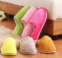 Free Shipping Hot-selling solid color thickening plush indoor slippers autumn and winter lovers thermal cotton-padded slippers