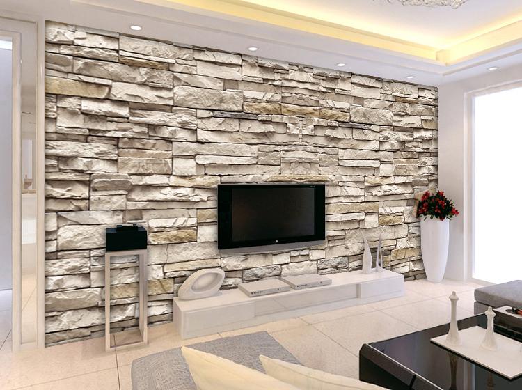 94+ [ Wohnzimmer Design Wand Stein ] - Steinwand Tapete Wohnzimmer ...
