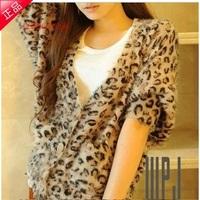2014 winny leopard print soft long loose batwing shirt sweater cardigan ladies sweater outerwear
