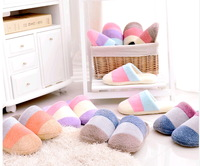 Free shiping  male female hot selling slipper Winter thick color block  cotton-padded thermal lovers slippers floor slippers