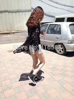European style bird print long design sun-protective chiffon women blouse loose flowing shirt summer