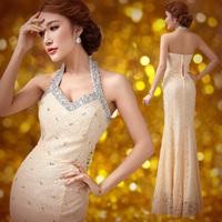 2014 halter-neck sexy design women's long evening dress formal dress  top quality  evening dresswith shiny crystal design
