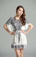 National trend vintage decorative pattern batwing sleeve lacing plus size viscose one-piece dress